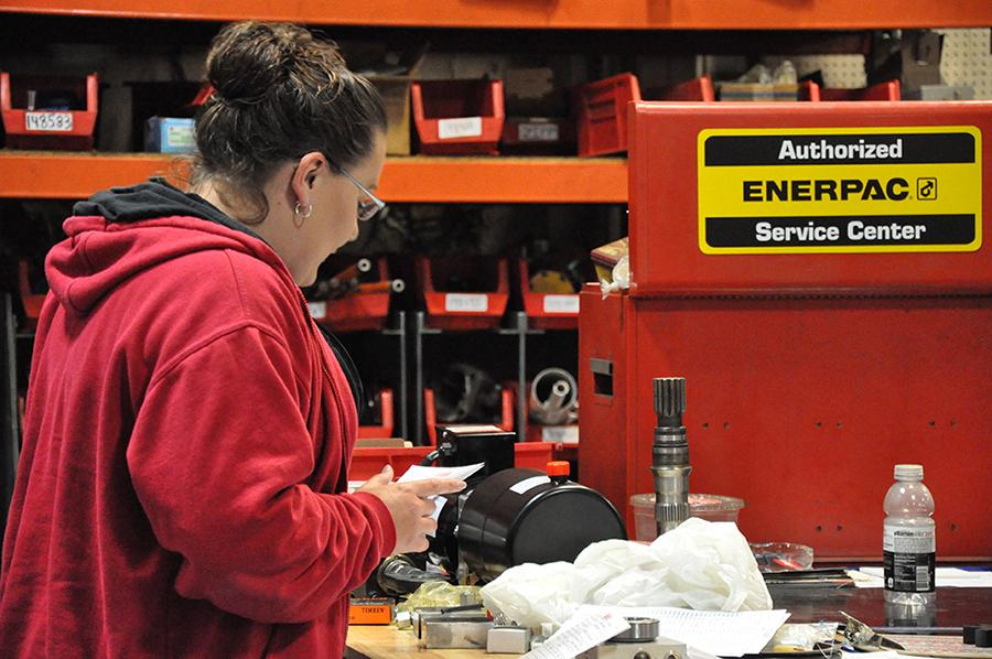 Woman working at Enerpac service center